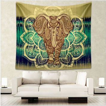 Free Shipping Indian Elephant Tapestry Aubusson Colored Printed Decor Mandala Tapestry Religious Boho Wall Carpet Room Blankets