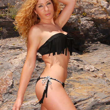 Brazilian Thong Braided String Bikini Bottom IBIZA in lava black, by MAKANI DREAM Swimwear