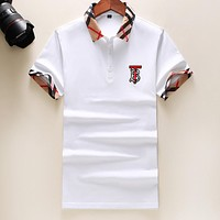 BURBERRY Summer Men Women Casual Embroidery Short Sleeve Lapel T-Shirt Top