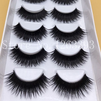 Hot Saleing False EyeLashes 1 Box 6 Pairs Thick Black False Eyelashes Makeup Tips Natural Smoky Makeup Long Fake Eye Lashes
