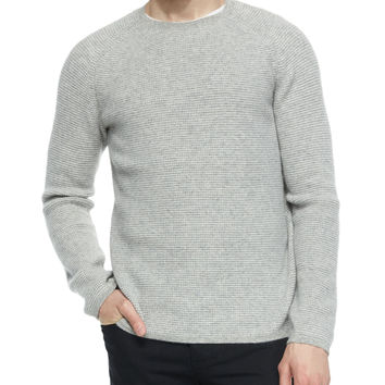Thermal Cashmere Crewneck Sweater, Gray, Size: