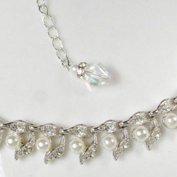 Art Deco Pave Rhinestone & Ivory Pearl Bridal Necklace, 1940s Silver Leaf Link Statement Necklace, Vintage Modern Choker Woodland Wedding