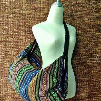 Backpack and Crossbody Bags Overnight travel bag Boho Tribal Hobo Stripes Aztec Ethnic Hippie Ethnic Styles Hipster Native Beach 2in1 Green