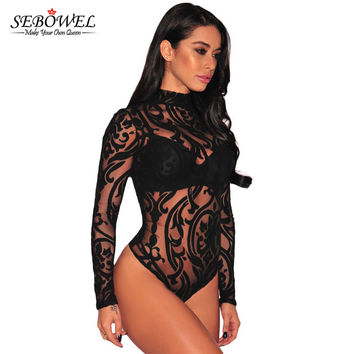 2017 Transparent Mesh Print Long Sleeve Sexy Bodysuit Women Top Fashion