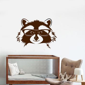 Vinyl Wall Decal Forest Raccoon In Glasses Funny Animal Head Stickers (2747ig)