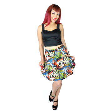Classic Horror Movies Hollywood Monsters Skater Skirt