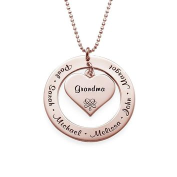 Grandma Mother Personalized Engraving Pendant Up to 7 Names- Jewelry Gift Children's Name