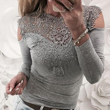 Spring Cold Shoulder Lace Patchwork Women T-shirt 2018 Female Sexy Tshirt Top Autumn Long Sleeve Slim Jumper Tee Plus Size GV256