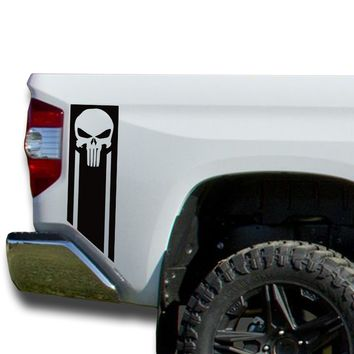 Bedside Punisher Decals Vinyl Sticker Decal: fits 2014-2018 Toyota Tundra