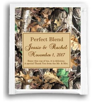 10 Personalized Camouflage Wedding Tea Favors