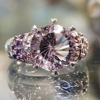 Vintage Amethyst Ring Orchid Amethyst 5.5 Ct Solitaire 12mm Round with Pink Sapphire African Amethyst Accent Stones Sterling Silver Size 8