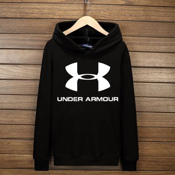 Under Armour Fashion Print Cotton Long Sleeve Sweater Pullover Hoodie Sweatshirt Black G-YSSA-Z
