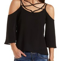 Caged Cold Shoulder Swing Top by Charlotte Russe