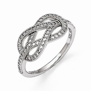 Sterling Silver Cubic Zirconia Love Knot Ring