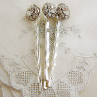 Bobby Pin, Vintage Hair Embellishment, Bridal, Wedding, Clear Rhinestone
