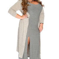 Beige Open Front Long Sleeves Hooded Plus Size Cardigan