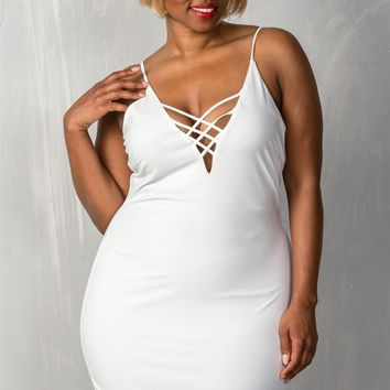 Ladies fashion plus size  stretchy adjustable straps mini length criss-cross v plunge dress