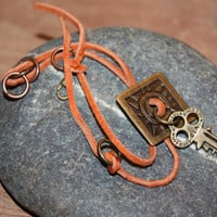 Bohemian Jewelry - Orange Suede Key Bracelet with Jump Rings and Metal Button, Gypsy Wear, Hippie Bracelet, Suede Boho Bracelet