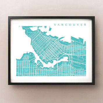 Downtown Vancouver Map Poster Print - BC, Canada