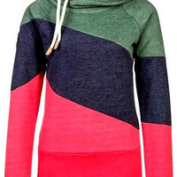 Color Block Long Sleeves Casual Hoodie