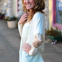 Sequin Elbow Patch Sweater {Cream}