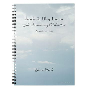 75th Anniversary Party Guest Book, Sky & Clouds Notebook