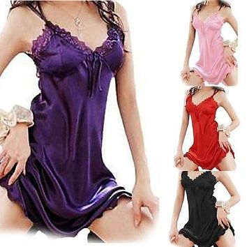 High Quality Sexy Polyester Nightgown Lace Robe Sleepwear Dress Beauty Ladies