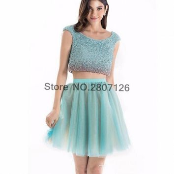 Luxury 2017 Cocktail Dresses Scoop Beaded Rhinestones Ball Gowns Short Wedding Party Dress Bride Gowns Robe De Cocktail