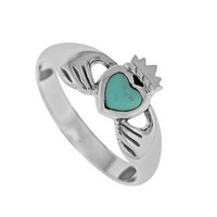 Boma Sterling Silver Turquoise Claddagh Ring, Size 5