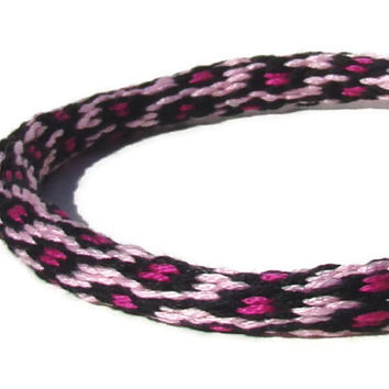 Cherish Collection-- 36 strand, pink spot kumihimo friendship bracelet with or without purchased magnetic clasp- your choice