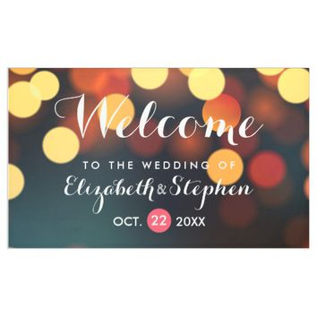 Chic Teal Gold Bokeh Glitter Light Wedding Welcome Banner