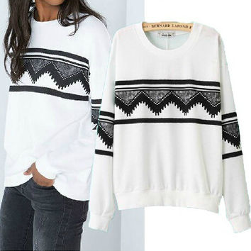 Geometric Print Multicolor Top Pullover Sweater