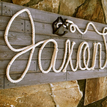 "JAXON: 32"" Nautical Rope Name Sign Cottage Beach Lake House Decor- Distressed Gray"