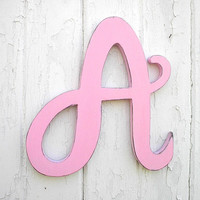 "Alphabet Wooden Letters A 12"" Baby Girl Light Pink Big Letter Feminine font Monogram Nursery Baby Shower Gift Dorm Decor"