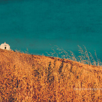 Landscape photography, gold fields, blue sky, long grass, little chapel, Cabo Espichel Portugal, fine art print, wall decor, home decor