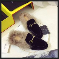 ONETOW Best Online Sale Gucci Slip On Wool Slippers Black For Women