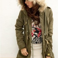 Women's Fur embellished Hooded Buttons Long Coat Sage  -  BuyTrends.com