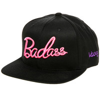 The BADASS Barbie Script Snapback in Black and Neon Pink