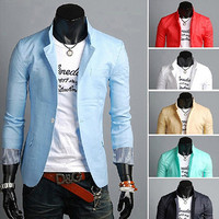 Spring Men Fashion One Button Blazer Jacket