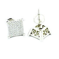 925 Sterling Silver Fashion Earrings 9mmWide Gallery Sides Screw Back CZ Studs