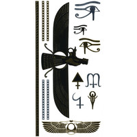 Winged Metallic Temporary Tattoos Gold One Size For Women 25704344201