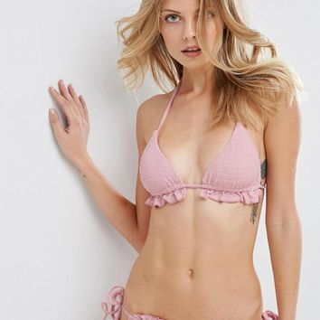 ASOS Textured Frill Pink Bikini Set at asos.com