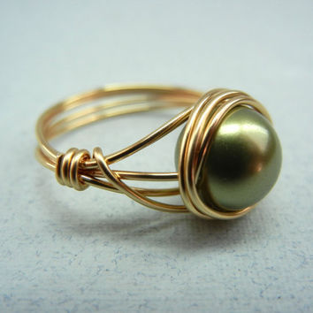Swarovski Light Green Pearl Ring - Custom Size Ring - Wire Wrap Ring