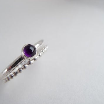 Sterling Silver Ring Purple Amethyst Cabochon Stack Ring Sterling Silver Bead Wire Stackable Rings Boho Jewelry February Birthstone