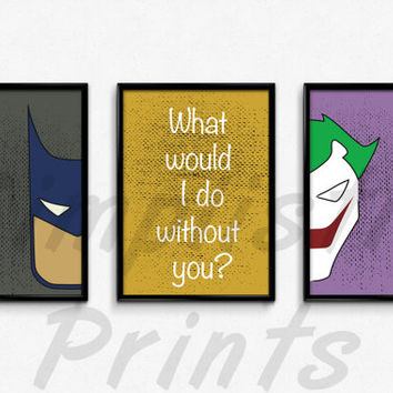 Animated Batman, Joker set of 3 prints, 13x19, 11x14, 8x10