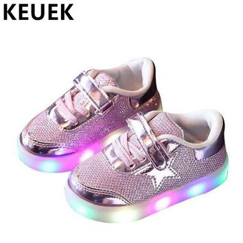 NEW Spring/Autumn Sneakers Children Shoes Casual Luminous Flats Lighted Toddler Baby Shoes Kids Hook & Loop Breathable 04