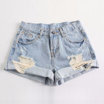 NEW 2014 Fashion Women Vintage Denim High Waist Light Blue Jean Shorts HOT Pants S M L XL