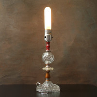 Vintage Glass Table Lamp, Bedside Lamp, Clear Glass with Red and Brown