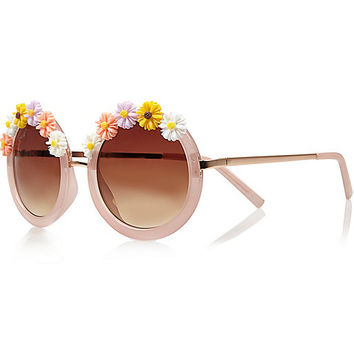 River Island Womens Light pink flower frame round sunglasses