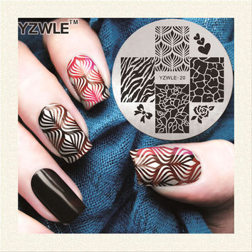 2017 New Arrival YZWLE Manicure Template Nail Stamping Plates Leopard Flower Designs Image Transfer Print